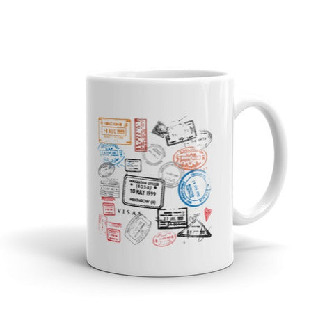 Bon Voyage Travel Passport Stamps Mug