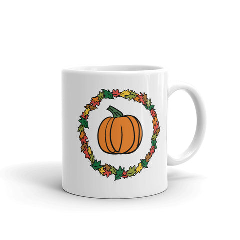 Jimmo Designs original Pumpkin And Autumn Foliage Thanksgiving Mug. Nice addition to your seasonal Fall decor. Perfect on your Thanksgiving table or as gift.