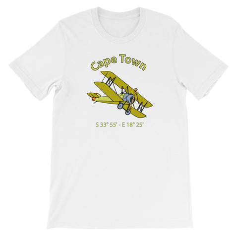 Cape Town Unisex Short Sleeve Vintage Biplane T-Shirt For Aviators
