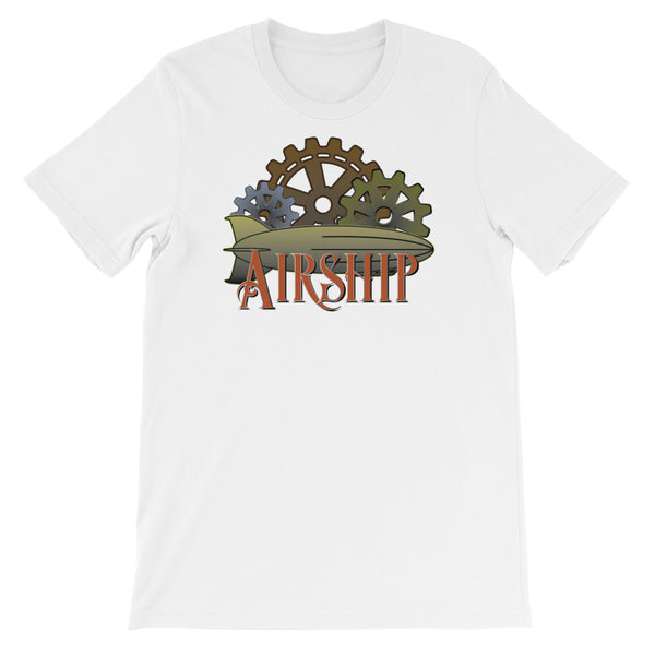 Steampunk Airship And Cogs - Short Sleeve Unisex T-Shirt