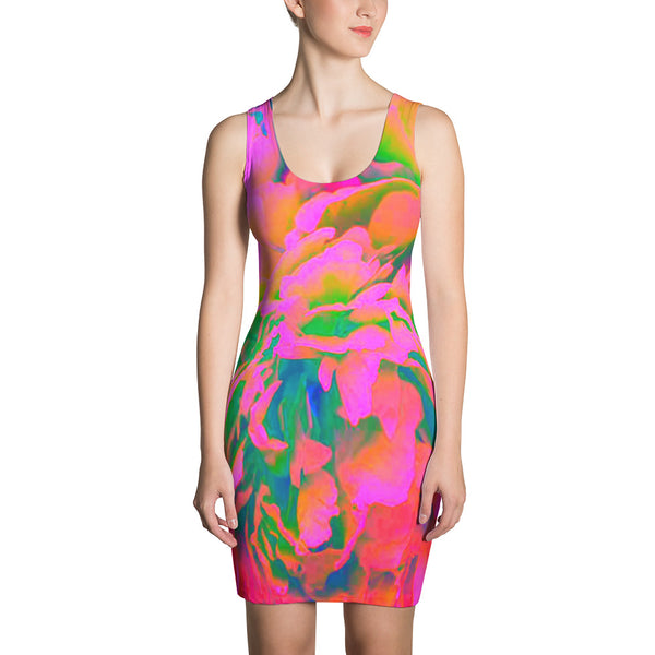 Jimmo Designs original Psychedelic Floral Dress featuring gorgeously altered original photograph of a peony flower. Make a statement and look fabulous in this all-over printed, fitted dress.