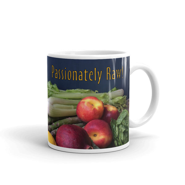 Passionately Raw! Fruit & Vegetables Mug For Raw Foodies And Vegans