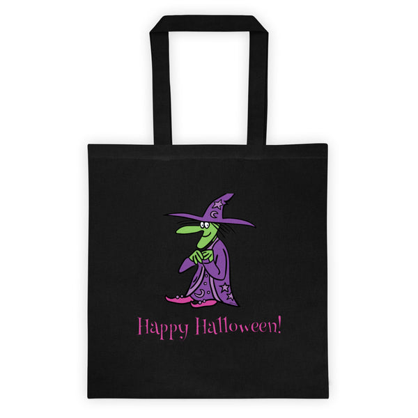 Agatha The Friendly Witch Reusable Trick Or Treat Halloween Tote Bag! Jimmo Designs original friendly witch Agatha is headed your way this Halloween. Keep an eye out for her. You never know what might happen if they are nearby. Get this environment friendly reusable bag and trick or treat to your heart desire and help save the planet!
