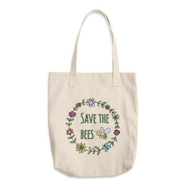 Save The Bees Flower Garland Reusable Cotton Shopping Tote Bag
