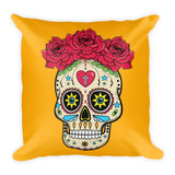 Sugar Skull With Roses Mexican Folk Art Square Pillow