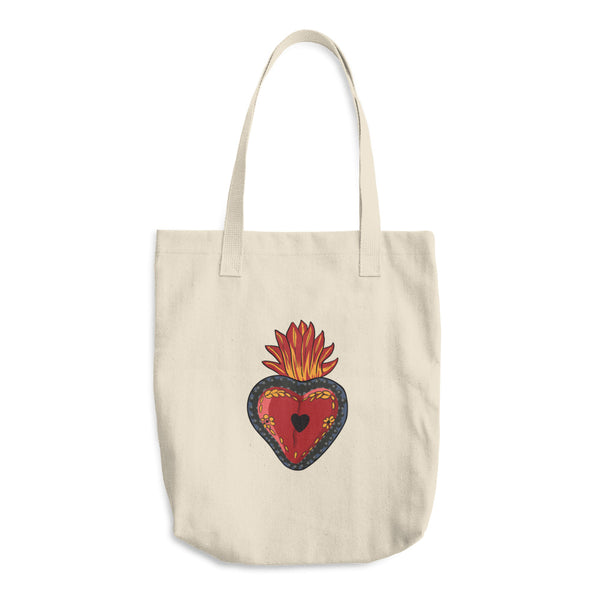 Corazon Mexican Folk Art Reusable Cotton Tote Bag
