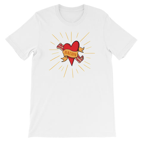 Bacon Heart In Holy Fire Short-Sleeve Unisex T-Shirt
