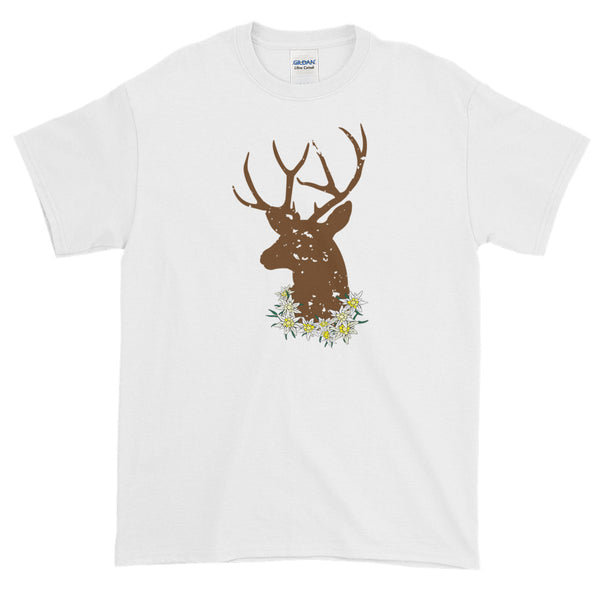 Stag And Edelweiss Flowers Oktoberfest Short Sleeve Man's T-Shirt