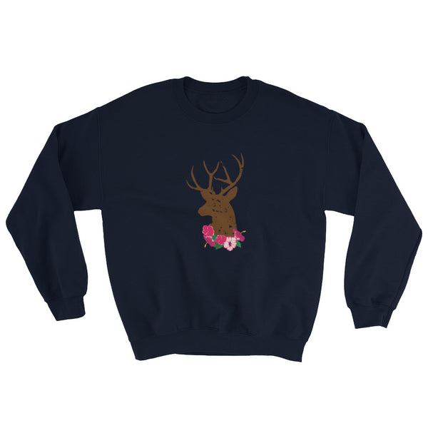 Stag And Summer Flowers Unisex Oktoberfest Sweatshirt
