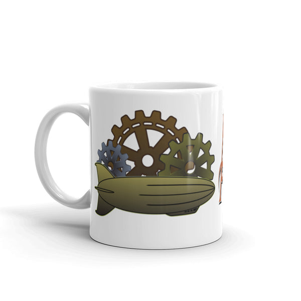 Steampunk Airship And Cogs - Mug For Steampunk Lovers