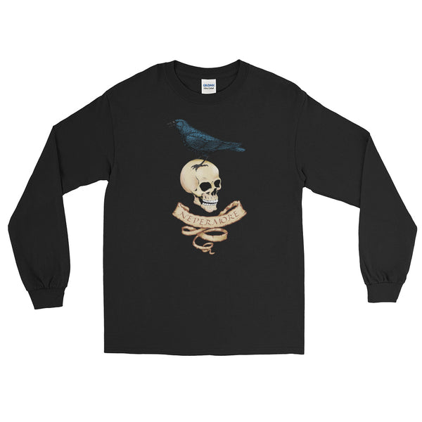 Nevermore Raven And Skull Long Sleeve T-Shirt For Gothic Literature Lovers (Unisex)