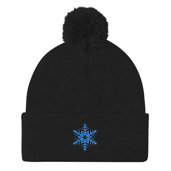 Blue Snowflake Embroidered Pom Pom Knit Cap