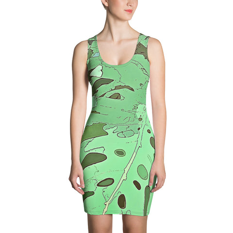 Monstera Tropical Dream Jungle Camouflage Print Dress. For some of us the Summer is never over. Designed especially for the discerning lovers of wild adventures, exotic vacation and tropical plants, this all over print dress featuring colorful tropical Monstera foliage camouflage pattern, will make you stand out in the crowd. Make a statement and look fabulous in this printed, fitted dress.