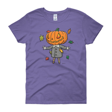 Cute Jack-O-Lantern Women's Short Sleeve Halloween T-Shirt