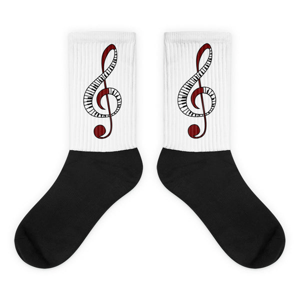 Treble Clef - Unisex Black Foot Socks For Music Lovers