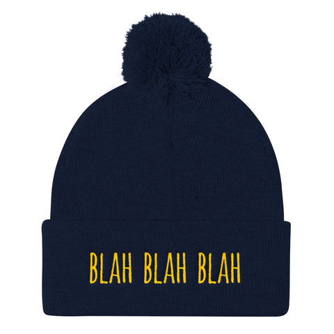 Blah Blah Blah Embroidered Pom Pom Knit Cap (Unisex)
