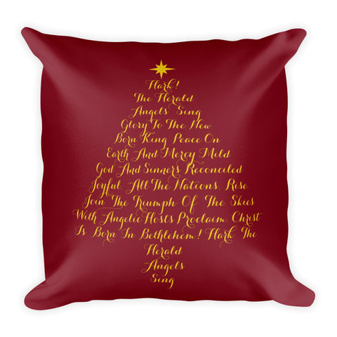 Hark! The Herald Christmas Carol Square Throw Pillow