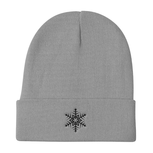 Black Snowflake Embroidered Unisex Knit Beanie