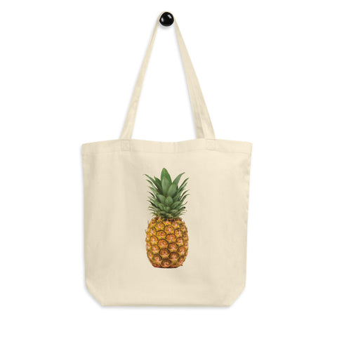 Ditch the plastic! Jimmo Designs Tropical Pineapple Eco Tote Bag for the environment conscious pineapple lovers, raw foodies, vegans, and fruitarians. It is made of organic cotton. If you are a concerned nature loving tree hugger, this bag is for you. Zero waste!