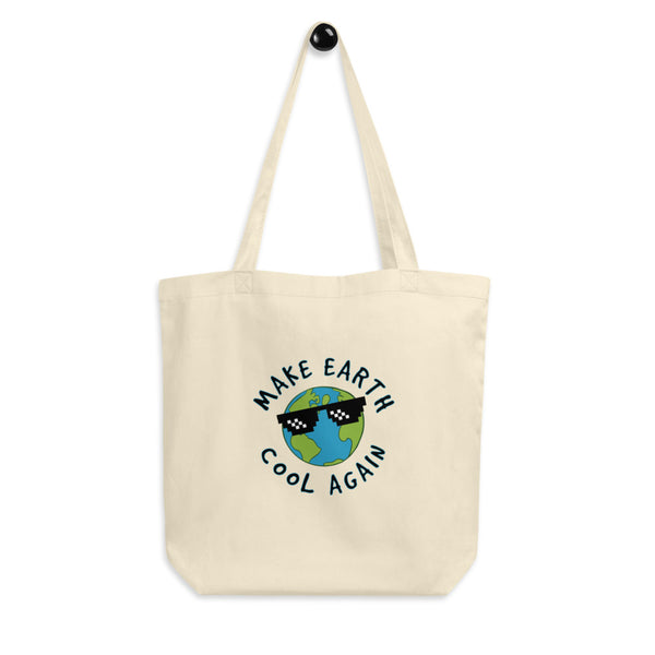 Make Earth Cool Again Eco Tote Bag. Ditch the plastic! Jimmo Designs original artwork adorns this organic bag. Great gift for environmentally conscious people and everybody who loves and cares for our beautiful planet.