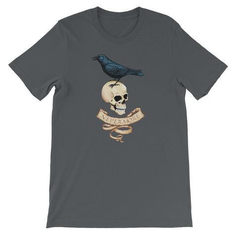 Nevermore Raven And Skull T-Shirt For Gothic Literature Lovers (Unisex)