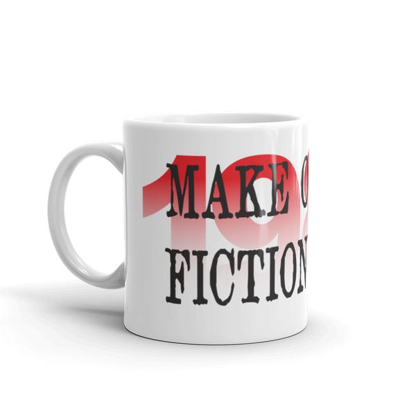 Make Orwell Fiction Again! Jimmo Designs original artwork! If social media bugs you and you like George Orwell, and support free speech and freedom of expression, this cool mug is for you! Timely gift for our turbulent times.