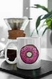 Jimmo Designs Pink Doughnut Mug for policemen, gourmets, gourmands, and everybody who loves donuts, pastry, and hobby baking.