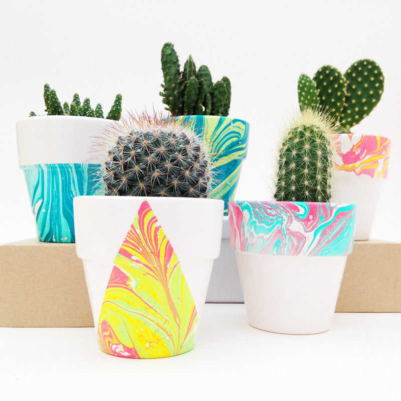 Mini Marbled Plant Pots