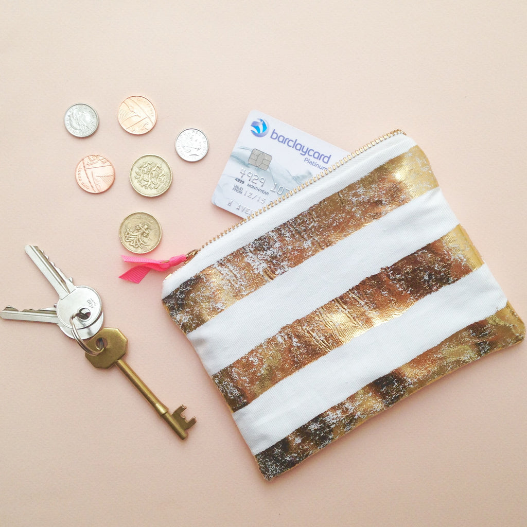 Create your own distressed gold foil purse