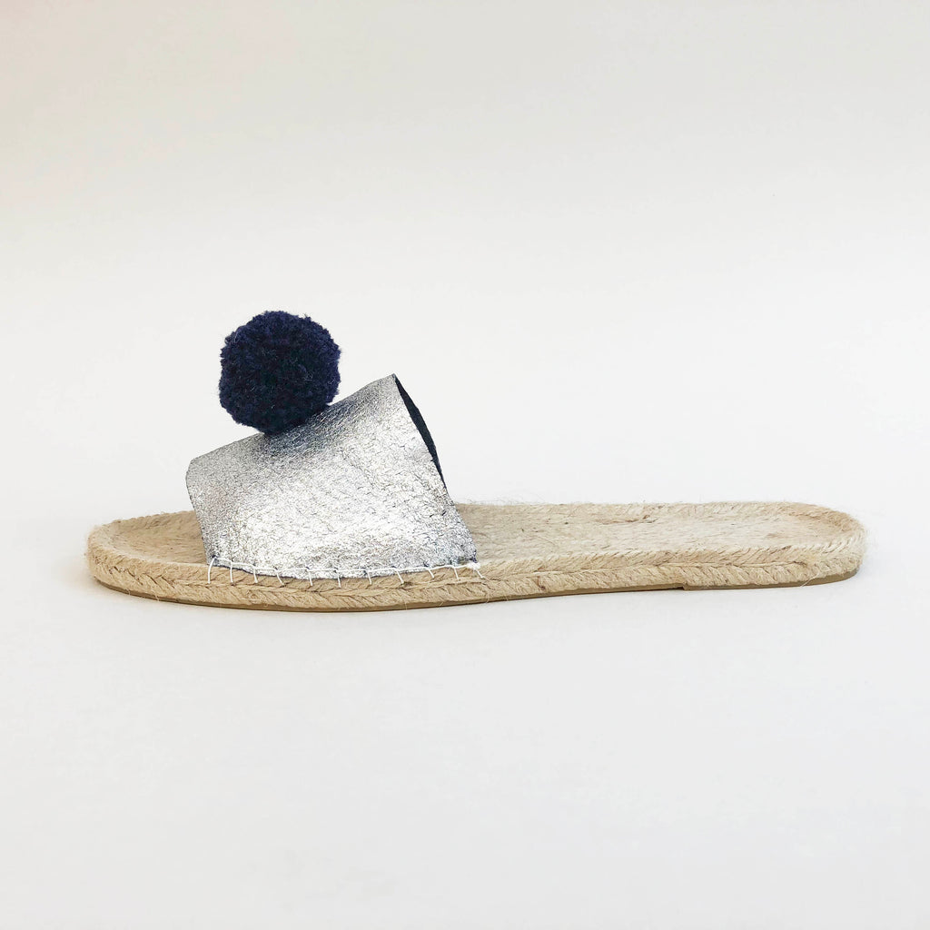 Silver leather pom pom espadrille