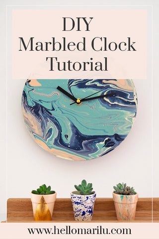 Add this DIY Marbled Clock Tutorial to Pinterest to try later