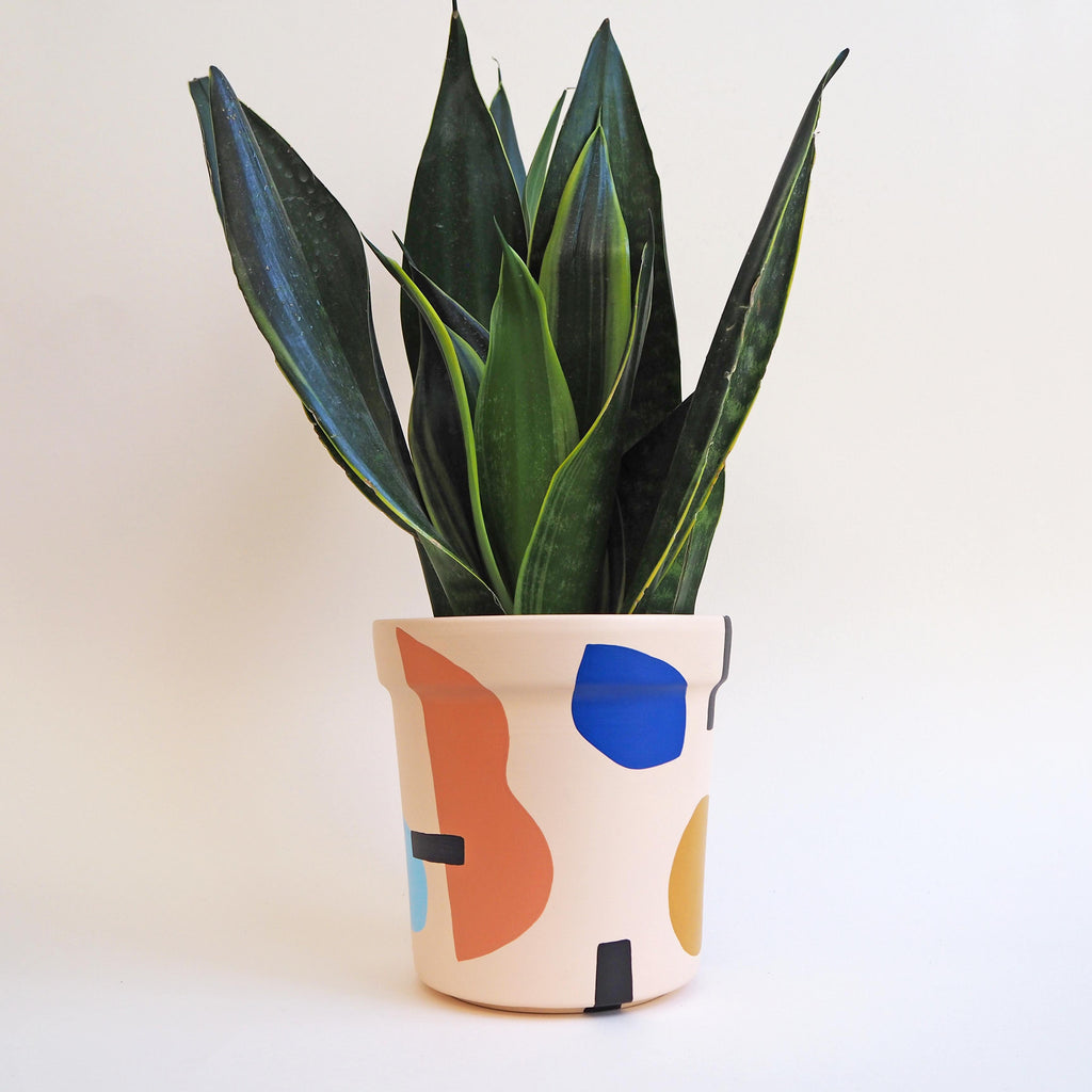 Large Abstract Plant Pot - Blush Pink