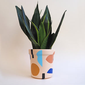Abstract Hand-Painted Plant Pot - Blush Pink