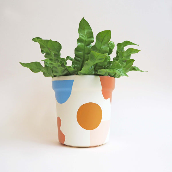 Abstract Hand-Painted Plant Pot - White