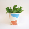 Large Abstract Plant Pot - White