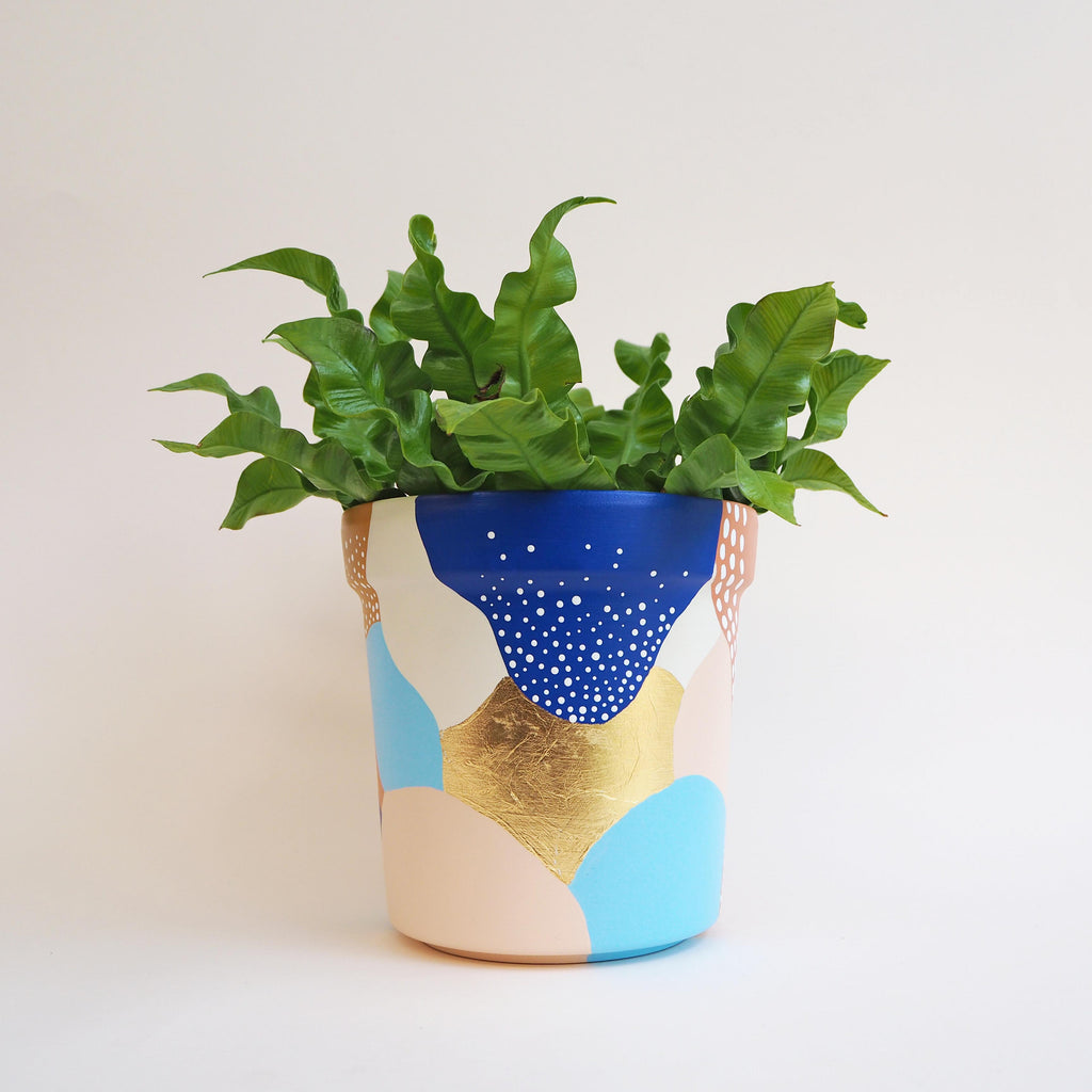 Large Abstract Gold Leaf Pattern Plant Pot