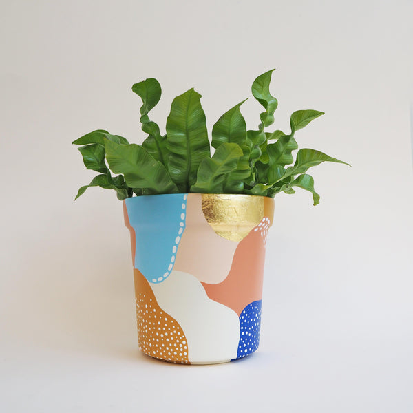 Abstract Gold Leaf Hand-Painted Pattern Pot