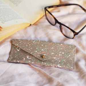 Dark Beige with Colourful Splatters Leather Glasses Case