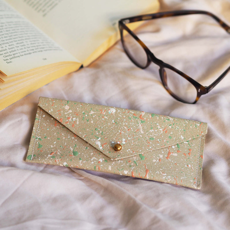 Light Beige with Colourful Splatters Leather Glasses Case