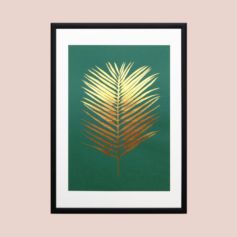 Gold Foil Areca Fan Palm Leaf A4 Screen Print on Emerald Green