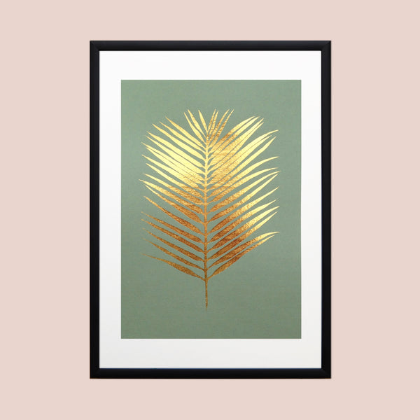 Gold Foil Areca Fan Palm Leaf A4 Screen Print on Olive Green