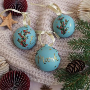 Personalised Festive Foliage Bauble - Blue