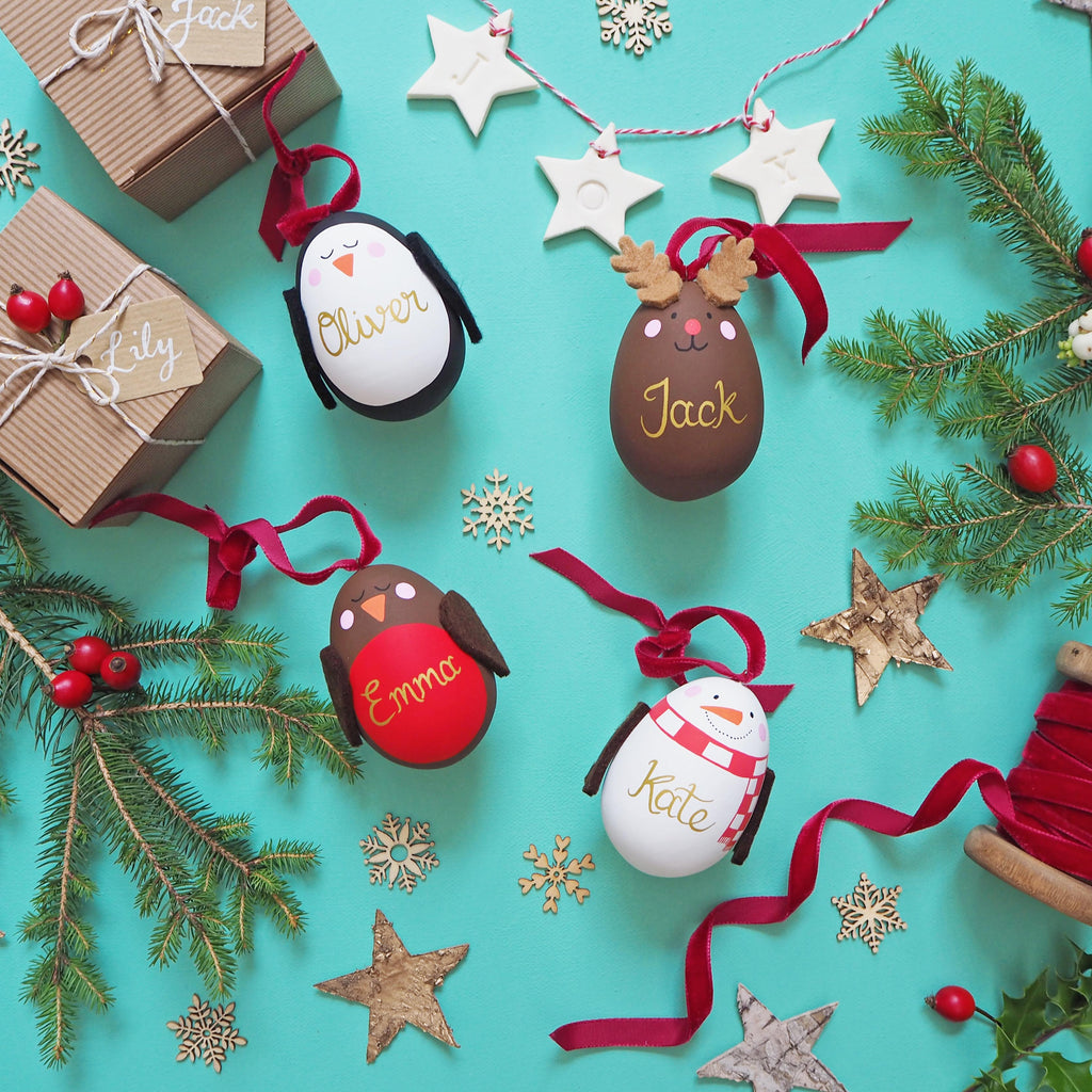 Christmas Characters Personalised ceramic baubles