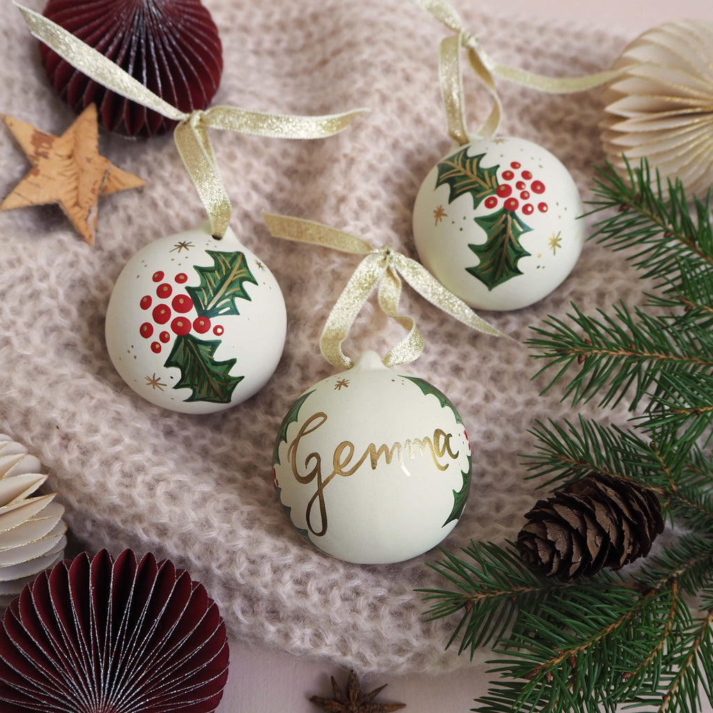 Personalised Festive Foliage Bauble - White