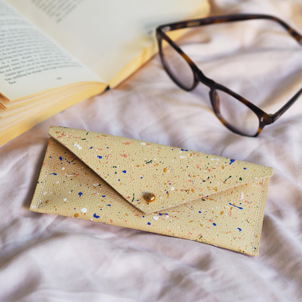 Cream with Colourful Splatters Leather Glasses Case