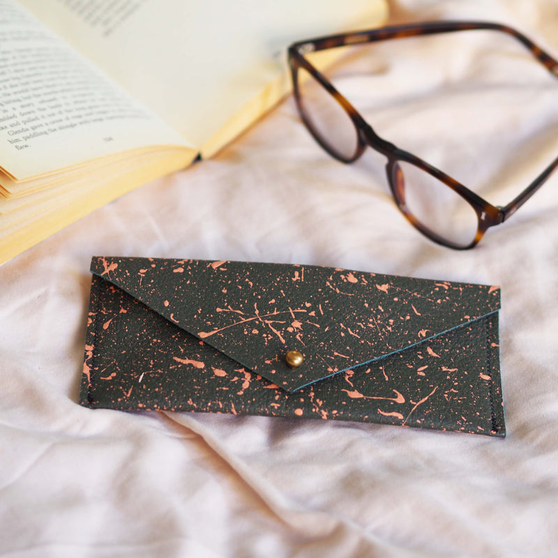 Dark Green with Pink Splatters Leather Glasses Case