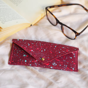 Deep Red with Neon Splatters Leather Glasses Case