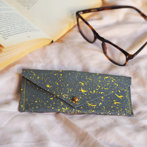 Grey Green with Yellow Splatters Leather Glasses Case