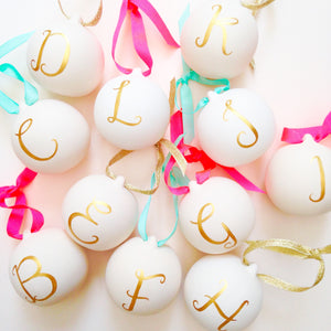 Hand Painted Alphabet ceramic baubles