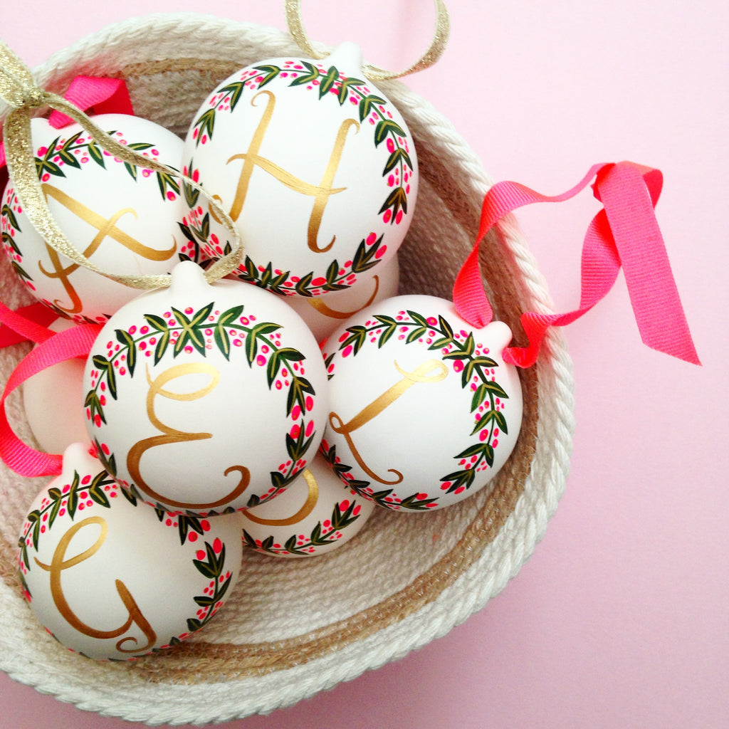 Hand Painted Alphabet & wreath ceramic baubles